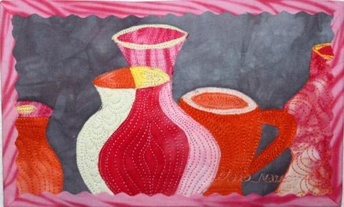 art is life | Textile art vases | Fabric Collage | Illusion of Depth | Red Art quilt