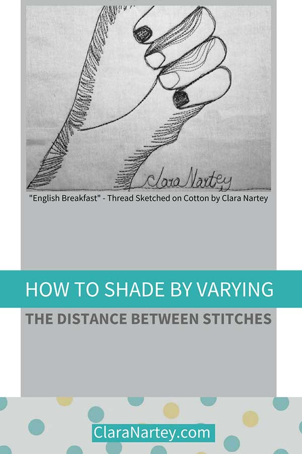 Shading on fabric by varying distance between stitches