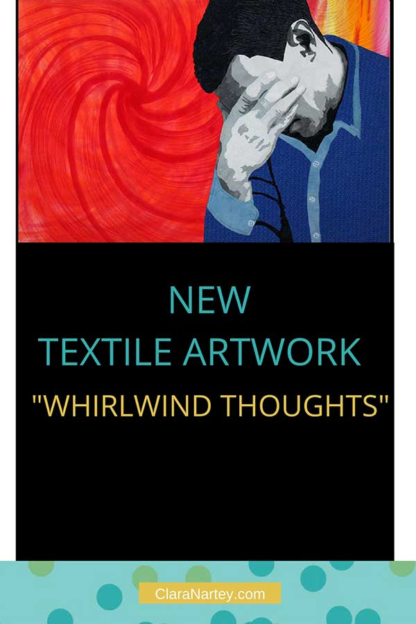 """New Textile artwork - """"whirlwind thoughts"""", stitched, hand-painted, fabric collaged"""