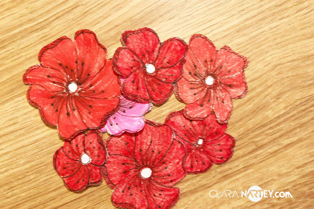 Valentine Fabric Card | Fabric Collage | Textile Art | Fabric Flowers