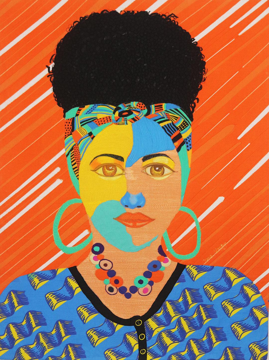 Chance Meeting| Black Hairstyle| Fiber Art| Textile Art